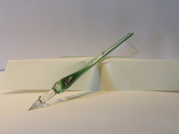 Green - Hand blown glass quill
