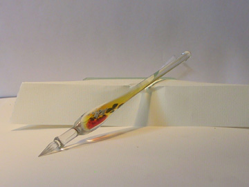 Yellow - hand blown glass quill